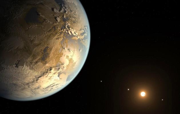 Une représentation imaginaire du système planétaire de l'étoile Kepler 186. Autour de l'étoile naine rouge, quatre planètes tournent, dont l'une passe en transit devant son disque. En avant-plan, la planète Kepler 186 f, ses nuages, ses océans. Il ne manque que des dauphins et des pingouins extraterrestres à cette vue idyllique ; sauf que...
