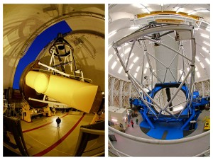 Deux des plus performants télescopes du monde ont été mis à contribution pour découvrir la planète GU Psc b. Le télescope franco-canadien d'Hawaii (CFHT), à gauche, et le télescope Gemini North. Photos Serge Brunier.