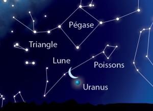 Le 21 juin à l'aube, la Lune passe juste au dessus de la discrète planète Uranus. Une observation à réaliser aux jumelles ou avec un instrument d'astronomie.