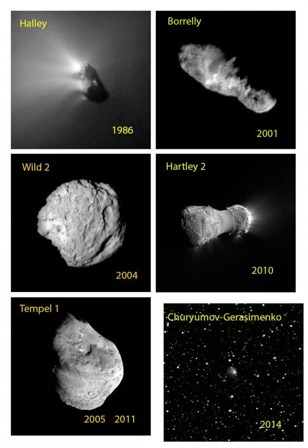 Cinq comètes, jusqu'ici, ont été approchées et photographiées, par des sondes spatiales américaines et européenne. Giotto a croisé la comète de Halley, Deep Space One la comète Borrelly, Stardust les comètes Wild 2 et Tempel 1 et enfin Deep Impact les comètes Tempel 1 et Hartley 2. Photos ESA et Nasa.