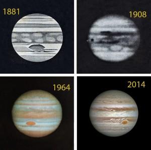 En près de cent cinquante ans, notre regard sur Jupiter a bien changé... Mais la Grande Tache rouge a toujours fait partie de ce paysage planétaire. Une certitude: au fil des décennies, la taille de l'anticyclone géant diminue. Photos DR/OMP/Nasa/ESA/STSCI.