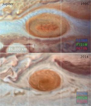 Sur ces deux images prises par le télescope spatial Hubble, la diminution de taille de la Grande Tache rouge, en moins de vingt ans, est spectaculaire. Photo Nasa/ESA/STSCI.