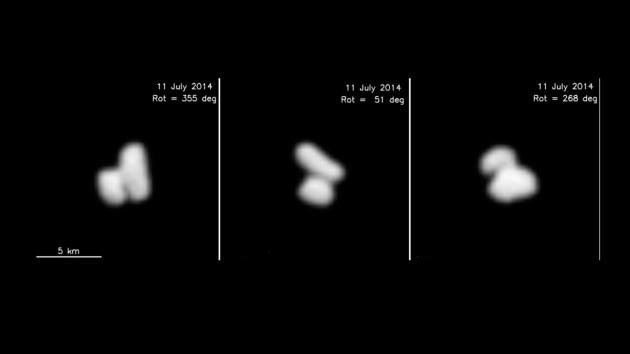 La comète Churyumov-Gerasimenko tourne lentement sur elle-même, sous les yeux numériques de la sonde européenne Rosetta, le 11 juillet 2014. Immense surprise : la comète est un astre double... Photo ESA.