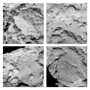 Les sites présélectionnés par l'ESA sont les régions de la comète qui sont les mieux exposées au Soleil afin de permettre à Philaé de recharger sa batterie, alimentée par de petits panneaux solaires. Autre critère du choix des ingénieurs et chercheurs européens: la très relative platitude des terrains. Les plus petits détails visibles sur ces images prises par la sonde Rosetta mesurent environ deux mètres. Photos ESA.