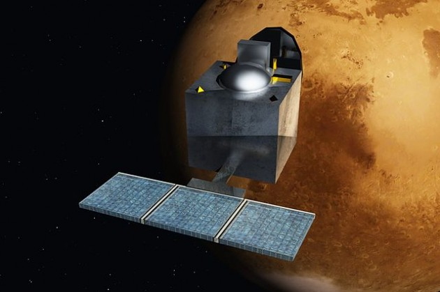 Vue d'artiste du satellite indien Mangalyaan ou Mars Orbiter Mission. / Nesnad via Wikipedia - CC BY SA 3.0