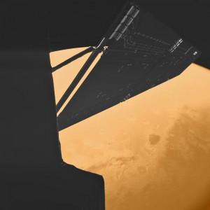 En 2007, la sonde Rosetta avait frôlé la planète Mars, réalisant ce vertigineux autoportrait à quelques centaines de kilomètres seulement au dessus de sa surface. Photo ESA.