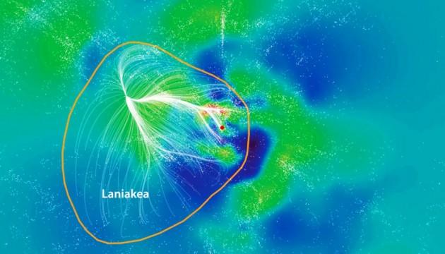 Voici Laniakea, le super amas de galaxies dont fait partie la Voie lactée, représentée ici par un point rouge, au centre de l'image. Laniakea s'étend sur plus de cinq cent millions d'années-lumière, et compte des centaines de milliers de galaxies. Photo CEA Saclay.