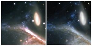 Sur ces gros-plans du couple de galaxies NGC 6872 et IC 4970, vues, à gauche, par le Very Large Telescope (VLT) et à droite par le télescope spatial Hubble, on remarque l'immense arche d'étoiles arrachées à la galaxie géante par la petite spirale. C'est la turbulence atmosphérique qui rend l'image du VLT un peu floue. L'image de Hubble, beaucoup plus nette, révèle avec précision les nébuleuses et les amas de jeunes étoiles supergéantes qui parsèment le disque de la galaxie NGC 6872. Photos ESO et Nasa/ESA/STSCI.