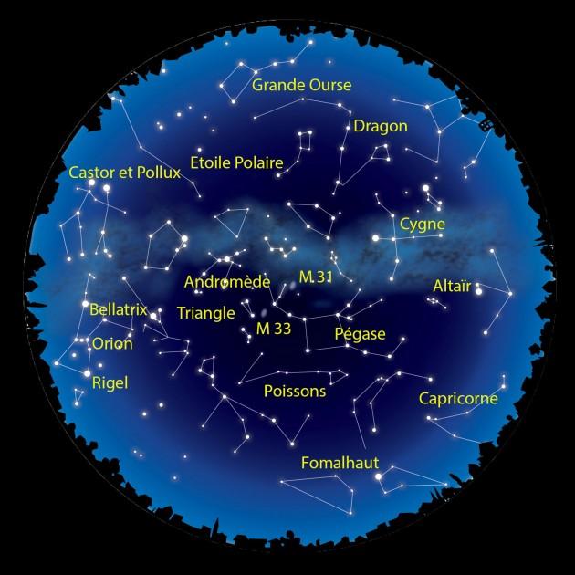 Trois galaxies sont visibles à l'œil nu dans le ciel de novembre. La Voie lactée, bien sûr, mais aussi M 31 d'Andromède et M 33 du Triangle. Illustration S&Vie.