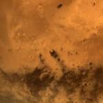 Au centre exact de cette image prise par la sonde Mangalyaan, le cratère Gale, où se trouve la sonde Curiosity. Photo ISRO.