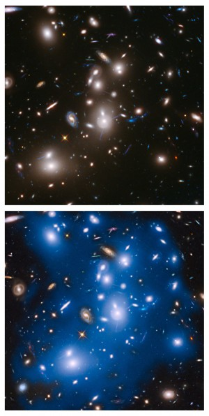 L'amas Abell 2744, situé à 3.5 milliards d'années-lumière, est riche de milliers de galaxies sur ces images prises par le télescope spatial Hubble. L'image du haut montre l'amas dans la lumière visible. Mais en ajoutant à l'image des poses prises dans l'infrarouge, le télescope spatial révèle un fond lumineux diffus, émis par des centaines de milliards d'étoiles naviguant entre les galaxies. Photo Nasa/ESA/STSCI.