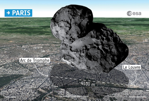 """La taille de la comète """"Tchouri"""" (67P/CG), comparée à la ville de Paris. / Ph. ESA/Rosetta/Navcam"""