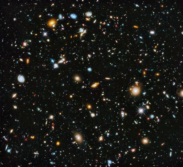 L'infime portion de ciel accessible aux telescopes (ici le Hubble ultra deep field)