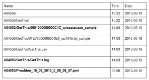 """Mise en évidence d'un fichier viral (""""0001000000000C1C_svcsstat.exe_sample"""")"""