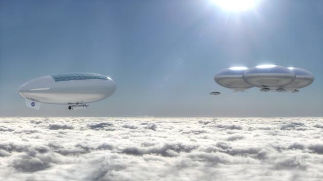 Vue d'artiste d'une future mission habitée dans l'atmosphère de Vénus - voire d'une colonie humaine (NASA/SACD)