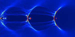 Simulation informatique du champ d'accélération dans le plasma (LBNL)