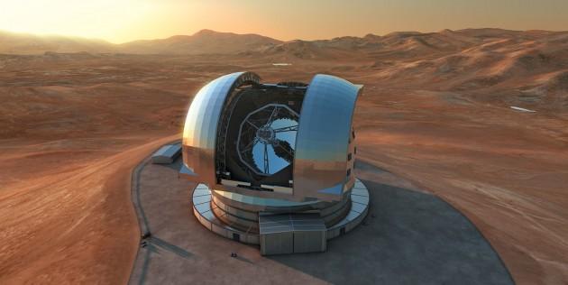 L'Observatoire européen austral (ESO) vient d'annoncer officiellement le lancement de son futur télescope géant, le E-ELT, équipé d'un miroir de près de 40 m de diamètre. Mise en service : 2024, au mieux. Illustration ESO.