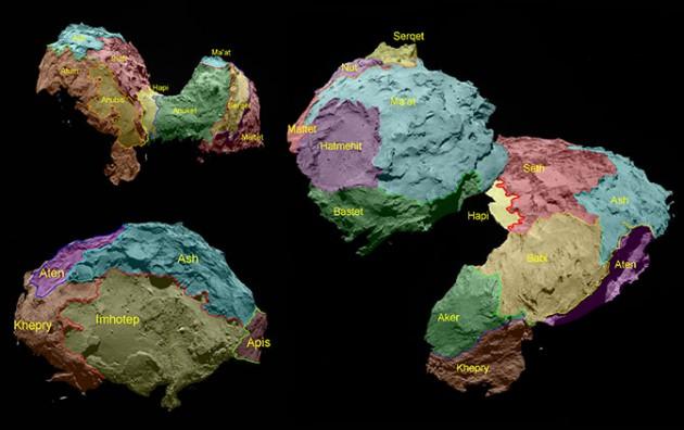 Les 19 régions de la comète Tchouri (en fausses couleurs) selon les relevés effectuées par la sonde Rosetta (ESA/Rosetta)