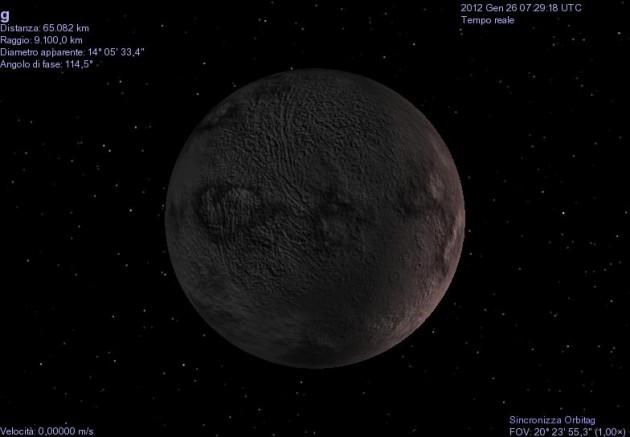 L'exoplanète Gliese 581g, aussi nommée Zarmina, du nom de la femme du découvreur (vue reconstruite - Crédit: Celestia)