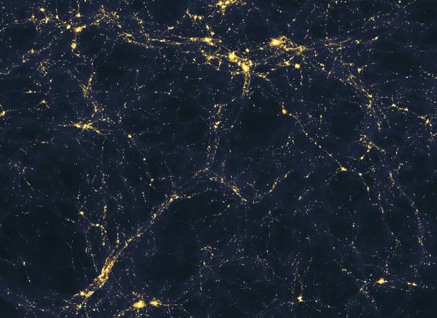 Une simulation informatique d'une zone de l'espace large de 50 millions d'années-lumière, où l'on aperçoit les superstructures cosmiques (Ph. Andrew Pontzen & Fabio Governato via Wikicommons CC BY 2.0)