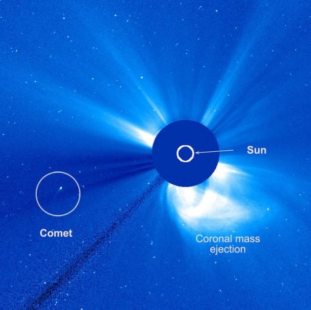 L'image de la comète inconnue en approche du Soleil (Credit: ESA/NASA/SOHO/Hill)