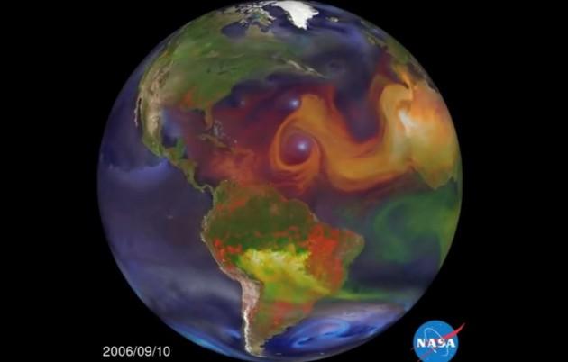 Les particules de suie et autres aérosols émis par l'Asie crée des cyclones en Amérique (capture d'écran - Nasa)