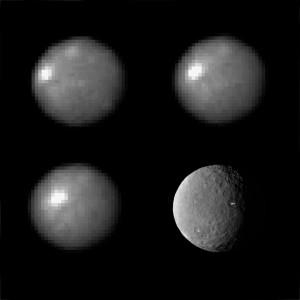 Les spots blancs observés par la sonde Dawn sont connus des astronomes depuis une dizaine d'années. Ils avaient été notamment observés par le télescope spatial Hubble. La très faible résolution des images prises par le télescope spatial ne permettait pas d'évaluer la taille de ces formations. On sait désormais qu'elles ne mesurent que quelques kilomètres au plus, mais peut-être beaucoup moins. Le mystère des spots blancs de Cérès sera levé lorsque la sonde Dawn en obtiendra des images à très haute résolution. Photos Nasa/STSCI.