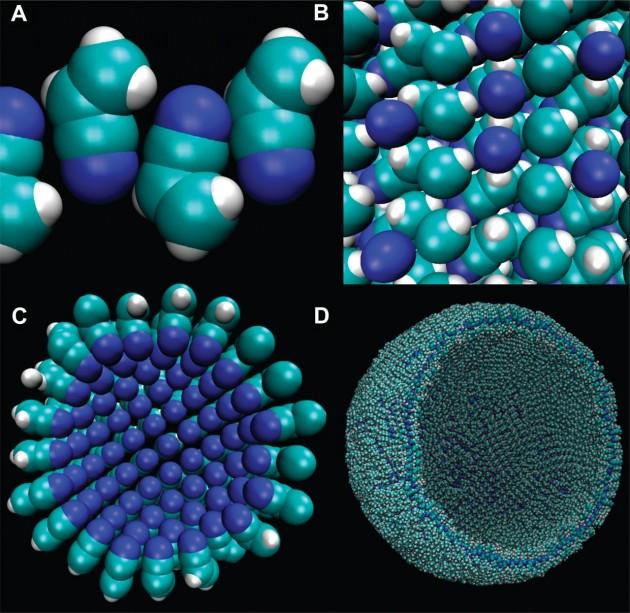 """Différents stades de formation d'une vésicule à base d'azote ou """"azotosome"""" (Crédit : James Stevenson)"""