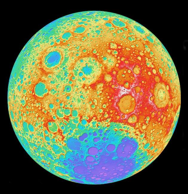 La carte des reliefs lunaires / Ph. © NASA Goddard space flight center - DLR - ASU