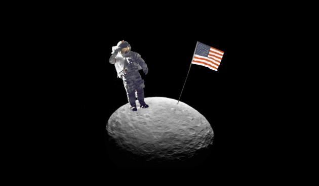 Avant la Lune, Mars, les anneaux de Saturne et la galaxie d'Andromède, les astronautes de la Nasa vont partir à la conquête d'un caillou prélevé pour eux par un robot sur un astéroïde... Photomontage Nasa/S.Brunier