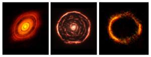 Régulièrement, Alma livre des images du ciel jamais vues, d'une stupéfiante nouveauté. Ce télescope virtuel observe un rayonnement de très grande longueur d'onde, révélant des astres souvent invisibles, ou difficiles à observer, pour les télescopes classiques. La qualité exceptionnelle de ses images fait le reste... Ces trois images – à gauche le système planétaire naissant HL Tauri, au centre le gaz soufflé par l'étoile géante R Sculptoris, à droite l'anneau d'Einstein SDP.81 – sont deux fois plus nettes que ce que pourraient obtenir les meilleurs télescopes du monde, sur Terre, ou Hubble, dans l'espace. Photos ESO/NRAO.