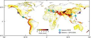 Carte montrant les régions où un système d'alerte aux séismes est installé (cercles bleus) au regard de l'étendue des régions à risque sismique (crédit : Adanced Sciences)