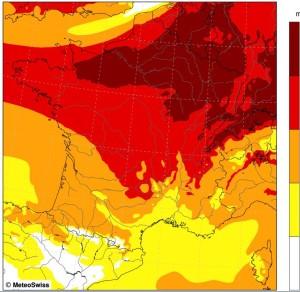Prévisions de pollinisation du bouleau pour le 23 avril (RNSA/MeteoSuisse)