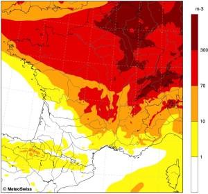 Prévisions de pollinisation du bouleau pour le 24 avril (RNSA/MeteoSuisse)