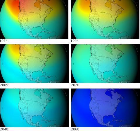 Que serait devenue la couche d'ozone si rien n'avait été fait pour la préserver : une disparition progressive qui aurait pu entrainer la nôtre (Crédit : Nasa)