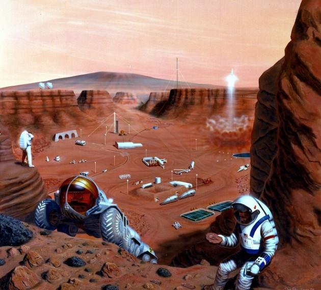 Dans l'hypothèse d'un futur séjour sur Mars, les astronautes devront disposer d'un habitat facile à construire à l'aide de matériaux martiens (Crédit : Nasa).