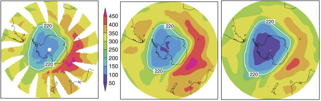 De gauche à droite : a) état de la couche d'ozone sur l'Antarctique en octobre 2011, b) simulation de l'état actuel selon le modèle développé par les chercheurs, c) état de la couche en 2011 si le Protocole de Montréal n'avait pas été acté.