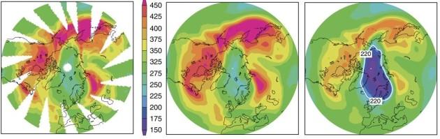 De gauche à droite : a) état de la couche d'ozone sur l'Arctique en mars 2011, b) simulation de l'état de la couche en 2011 selon le modèle développé par les chercheurs, c) état de la couche en 2011 si le Protocole de Montréal n'avait pas été acté.
