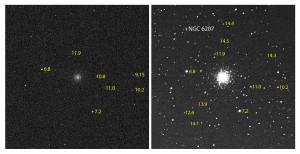 Ce montage montre l'effet de l'addition de nombreuses images dans le domaine de la photographie astronomique. A gauche, une pose de 1 seconde, à 12 800 ISO, de l'amas d'Hercule. A droite, l'addition de 300 poses de 1 seconde. L'image de droite montre plus d'étoiles, et révèle la galaxie NGC 6207, distante de cinquante millions d'années-lumière. La magnitude, c'est à dire l'éclat, de quelques étoiles est indiqué. Photos S.Brunier.