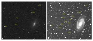 Montage de la photographie de la Grande Ourse. A gauche, une pose individuelle montre les étoiles jusqu'à la magnitude 12, à l'extrême limite. A droite, l'addition de 300 images révèle la structure spirale de la galaxie M 81, et montre les étoiles jusqu'à la magnitude 16,5 environ. Une étoile de magnitude 16 est plus de dix mille fois plus pâle que la plus faible étoile visible à l'œil nu... Photos S.Brunier.