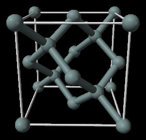 """Représentation en 3D de la maille élémentaire du cristal de silicium : une structure dite """"cubique face centrée"""" (Ph. Ben Mills via Wikicommons, Domaine public)"""