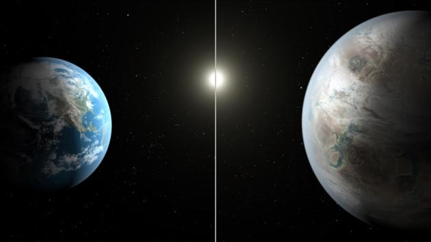 A gauche, la planète Terre. A droite, l'exoplanète Kepler 452 b, telle que l'imagine la Nasa. Cet astre situé à 1400 années-lumière de distance a été découvert par le satellite Kepler. Nous ne savons encore rien de la nature de ce monde lointain... Illustration Nasa.