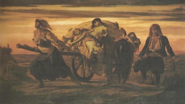 Peinture du XIXe siècle représentant les victimes de la Peste noire au XIVe siècle (Louis, Duveau : La peste d'Elliant - domaine public)