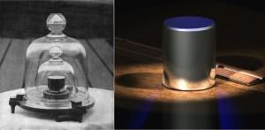 A gauche, un prototype du poids-étalon photographié en 1915. A droite, une représentation d'artiste du cylindre (Greg L. via Wikicommons CC BY-SA 3.0)