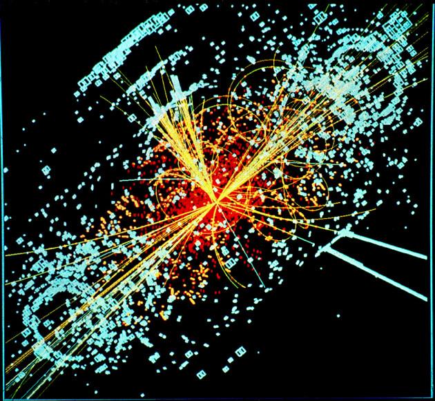 Les particules élémentaires (ici, une simulation de la désintégration du boson de Higgs au LHC) n'ont pas de forme définie (h. Lucas Taylor via Wikicommons CC BY-SA 3.0).
