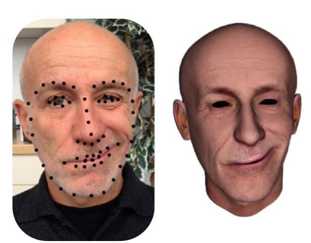 Un petit nombre d'informations sur l'expression du visage réel permet de reconstruire cette expression sur l'avatar