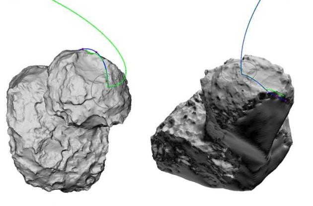Schéma de l'atterrissage de Philae sur la comète Tchouri - Ph. ESA/ESOC/SONC