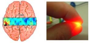 Image d'activation des régions périphériques sur cerveau par ISPIf (le rouge est un maximum). A droite, le type de lumière pulsé par l'émetteur.