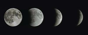 Cette série d'images a été prise à temps de pose constant, afin de montrer l'avance de l'ombre terrestre sur la surface lunaire. Photos S.Brunier.