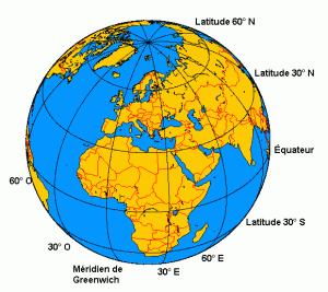 La position théorique du méridien de Greenwich (longitude 0°) et de la ligne de l'équateur (latitude 0). Ph. Cham CC BY-SA 3.0.